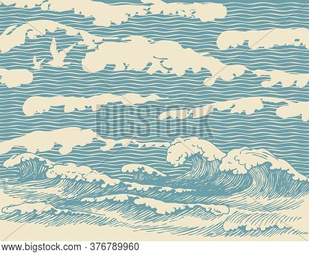 Decorative Illustration Of The Sea Or Ocean, Hand-drawn Storm Waves With Breakers Of Sea Foam. Vecto