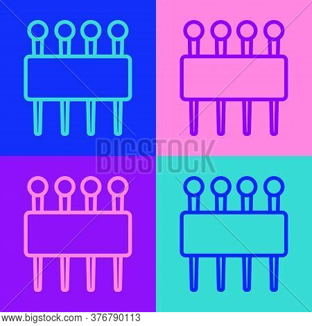 Pop Art Line Needle For Sewing Icon Isolated On Color Background. Tailor Symbol. Textile Sew Up Craf