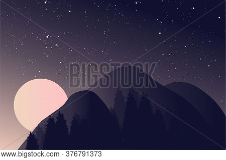Beautiful Landscape. Dark Background, Night Sky With Stars And A Full Moon. A Massive Massive Mounta
