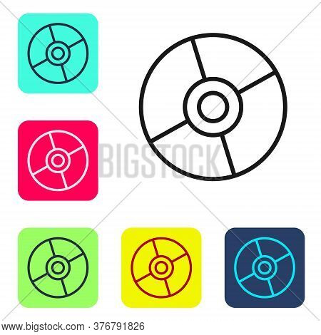 Black Line Cd Or Dvd Disk Icon Isolated On White Background. Compact Disc Sign. Set Icons In Color S