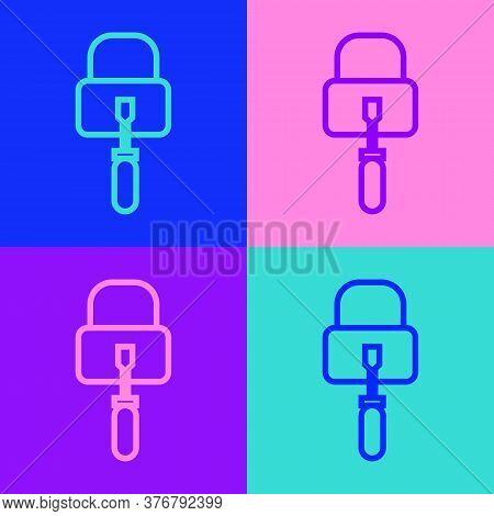 Pop Art Line Lockpicks Or Lock Picks For Lock Picking Icon Isolated On Color Background. Vector Illu