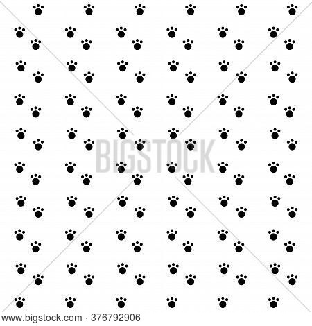 Dog Paw Cat Paw Puppy Foot Print Kitten Vector Pattern Wallpaper Background.