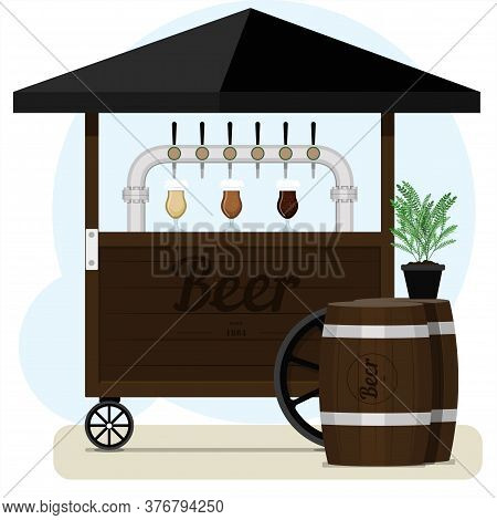Street Stall With Draught Beer For Sale. Wooden Cart With Different Types Of Craft Beer, Wooden Barr