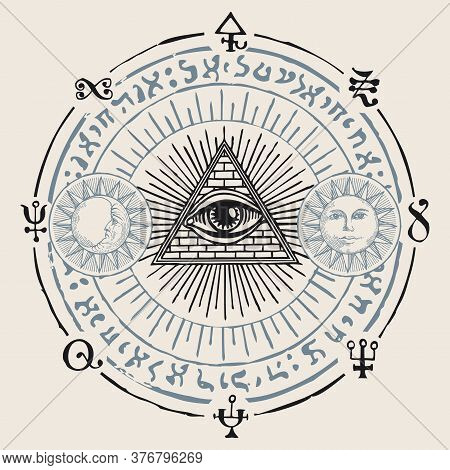 Illustration With An All-seeing Eye, Sun, Moon, Alchemical And Masonic Symbols. Hand-drawn Vector Ba