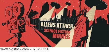 Cinema Poster For Science Fiction Movies. Vector Illustration With An Old Movie Projector And Flying