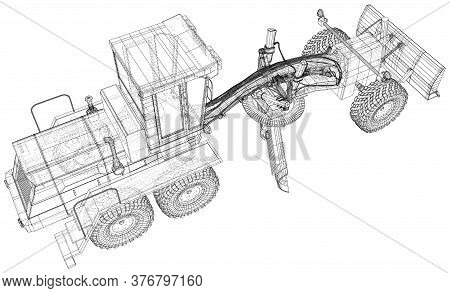 Land Grader Illustration Vector. Wire-frame Line Isolated. Vector Rendering Of 3d