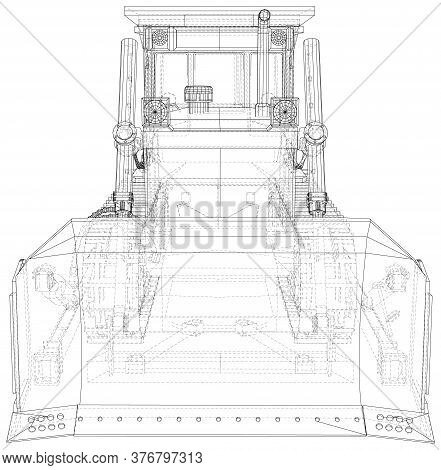 Vector Wire-frame Bulldozer. The Layers Of Visible And Invisible Lines Are Separated. Eps10 Format.