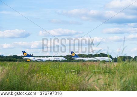 Enschede, Netherlands - July 12, 2020: Boeing 747-400 Airplanes Stalled During The Corona Crisis On