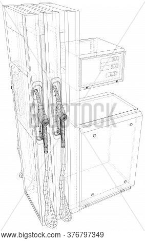 Vector Design And Retro Gas Pumps Isolated. Vector Rendering Of 3d. Wire-frame Style. Eps10 Format