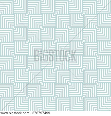Abstract Geometric Vector Seamless Pattern. White Lines On Blue Pastel Background. Crossing Squares.