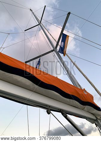Herzlia, Israel - June 24, 2020: Bottom View On The Mast Of The Yacht Against The Sky