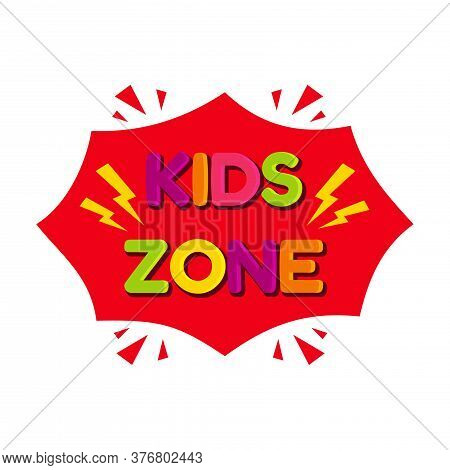 Kids Zone Vector Logo Isolated On White Background. Colorful Letter For Children Playroom Decoration