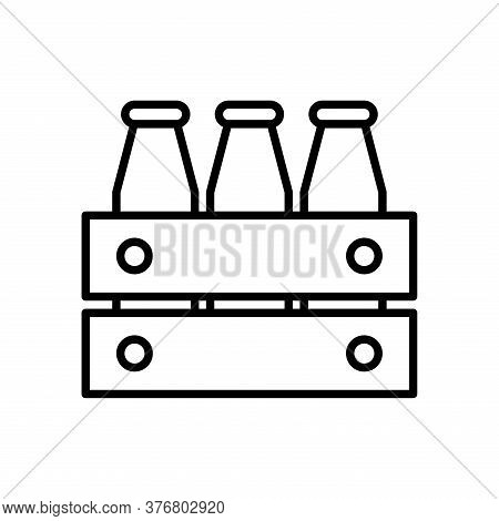 Milk Botles Line Style Icon Design, Dairy Breakfast And Food Theme Vector Illustration