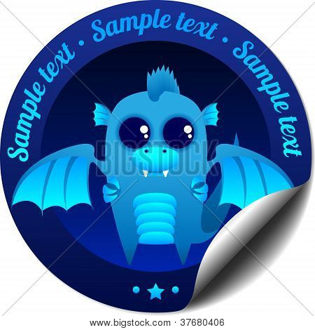 Sticker with blue fantasy dragon with wings poster