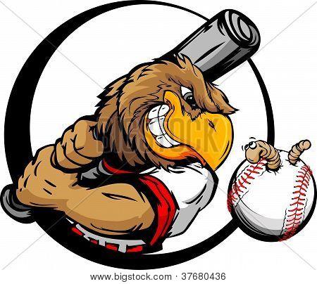 Early Bird Baseball Player Holding Baseball Bat