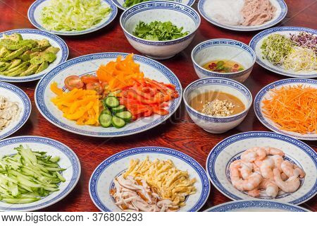 Vegetables, Tofu, Prawns And Sauces For Traditional Vietnamese Cooking