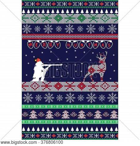 Ugly Christmas Sweater-with Hunting Conceptmerry Christmas Sweater