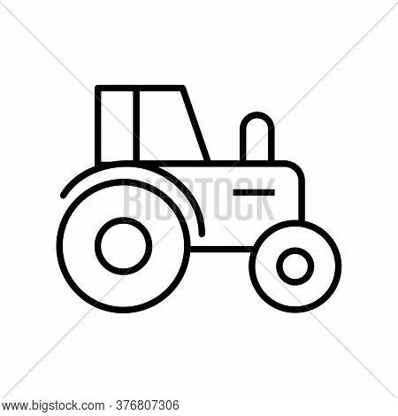 Farm Tractor Line Style Icon Design, Agronomy Lifestyle Agriculture Harvest Rural Farming And Countr