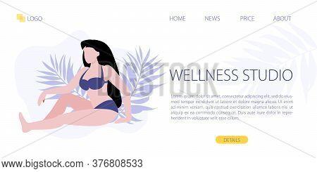 Vector Illustration Of White Woman Sitting In Purple Bikini Around Palm Leaves. Wellness Relax Studi