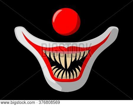 The Muzzle Of A Clown On A Black Background. Cartoon Scary Movie Poster With Creepy Clown Face. Red