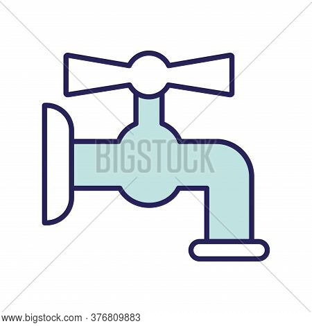Water Tap Line And Fill Style Icon Design, Clean Faucet Liquid Drink Wet Kitchen Home Stream Wash An