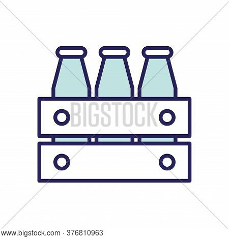 Milk Botles Line And Fill Style Icon Design, Dairy Breakfast And Food Theme Vector Illustration