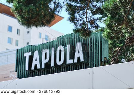 Espoo, Finland - July 12, 2020: The Tapiola Old Signboard Made From Oxidized Copper