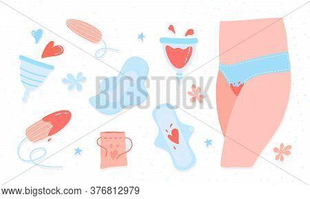 Menstruation Theme. Period. Various Feminine Hygiene Products. Zero Waste Objects. Panties, Pads, Cu