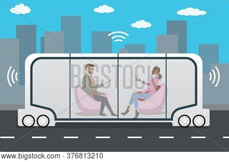 Autonomous Car Or Bus And Internet Of Things Iot Concept Self-dr