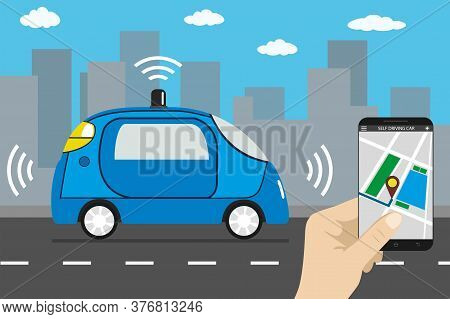 Autonomous Car And Internet Of Things Iot Concept Self-driving C