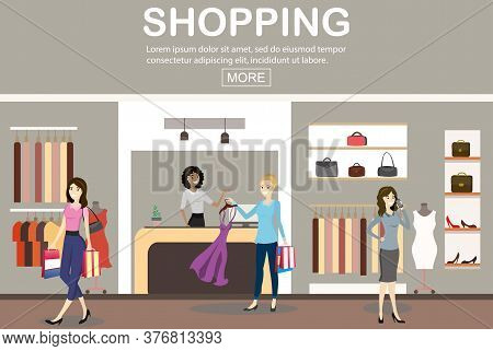 , Caucasian Female Cashier And And Women Buyers