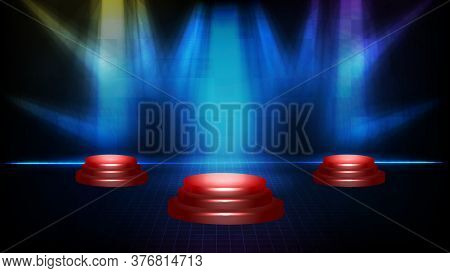 Abstract Futuristic Background Of Empty Stage Podium And Lighting Spotlgiht Stage Background