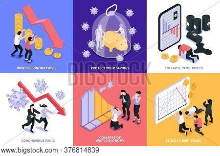Isometric Financial Crisis Design Concept Set Of Six Square Compositions With Stock Market Economy C