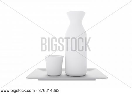 Japanese Traditional With Sake Cup And Bottle On White Background.3D Rendering
