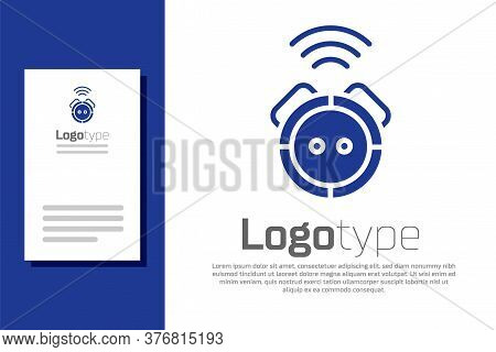 Blue Robot Vacuum Cleaner Icon Isolated On White Background. Home Smart Appliance For Automatic Vacu