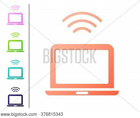 Coral Wireless Laptop Icon Isolated On White Background. Internet Of Things Concept With Wireless Co