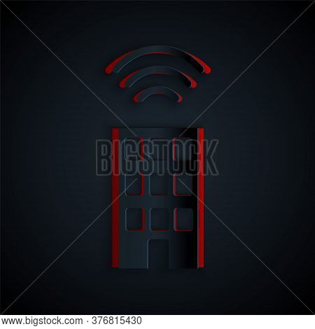 Paper Cut Smart Home With Wireless Icon Isolated On Black Background. Remote Control. Internet Of Th