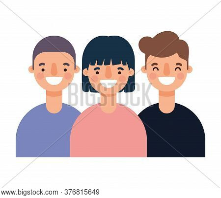 Woman And Men Avatars Cartoons Smiling Design, Person People And Human Theme Vector Illustration