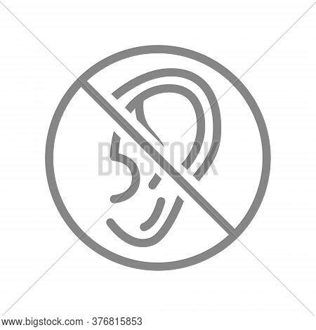 Ear With Prohibition Sign Line Icon. Transplantation, Amputation Organ, Deafness Symbol