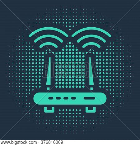 Green Router And Wi-fi Signal Icon Isolated On Blue Background. Wireless Ethernet Modem Router. Comp