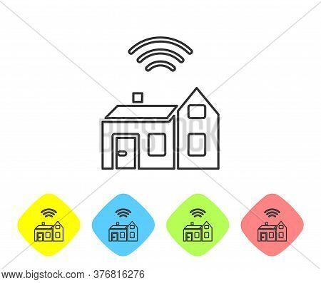 Grey Line Smart Home With Wireless Icon Isolated On White Background. Remote Control. Internet Of Th