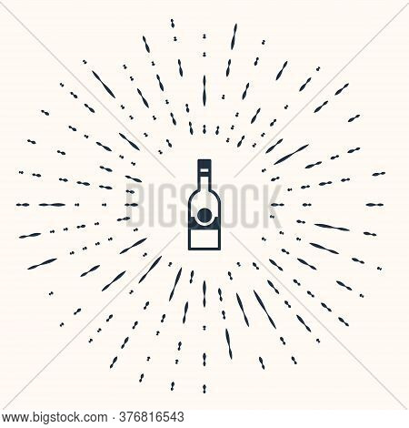 Grey Glass Bottle Of Vodka Icon Isolated On Beige Background. Abstract Circle Random Dots. Vector