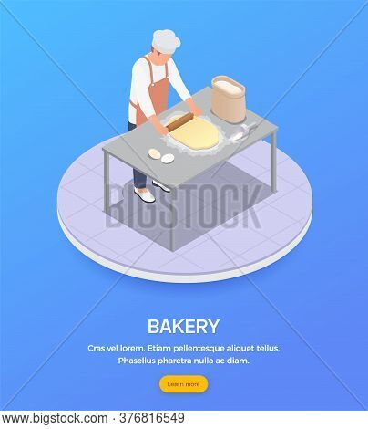 Isometric Composition With Male Baker Rolling Dough In Bakery 3d Vector Illustration