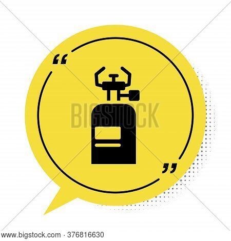 Black Camping Gas Stove Icon Isolated On White Background. Portable Gas Burner. Hiking, Camping Equi
