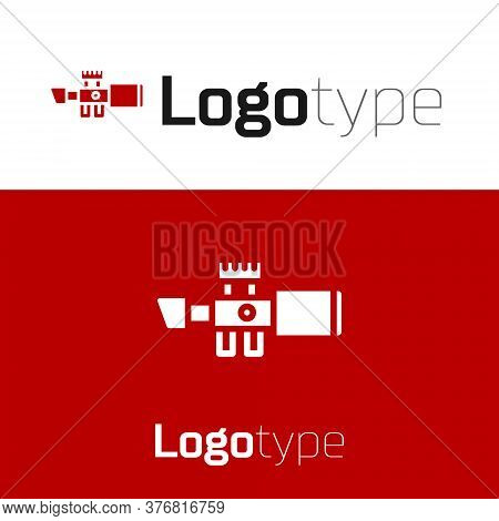 Red Sniper Optical Sight Icon Isolated On White Background. Sniper Scope Crosshairs. Logo Design Tem