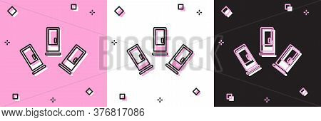 Set Cartridges Icon Isolated On Pink And White, Black Background. Shotgun Hunting Firearms Cartridge
