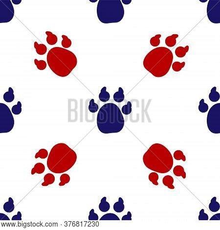 Blue And Red Paw Print Icon Isolated Seamless Pattern On White Background. Dog Or Cat Paw Print. Ani