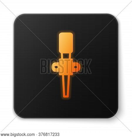 Orange Glowing Neon Torch Flame Icon Isolated On White Background. Symbol Fire Hot, Flame Power, Fla
