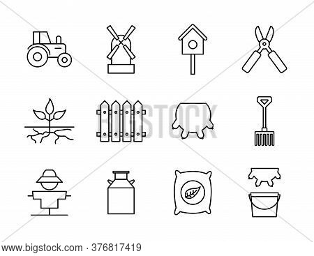 Farm Line Style Icon Set Design, Agronomy Lifestyle Agriculture Harvest Rural Farming And Country Th