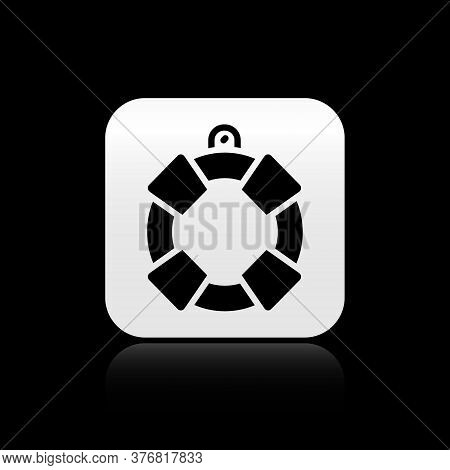 Black Lifebuoy Icon Isolated On Black Background. Lifebelt Symbol. Silver Square Button. Vector